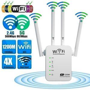 Extender de alcance do WiFi 1200Mbps Dual Band 2.4 / 5GHz Wi-Fi Internet Booster Repetidor Sem Fio para Roteador Fácil Configuração WPS