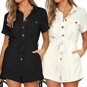 New arrival Womens Casual Button Down Cuffed Short Sleeve Casual Boho Playsuit Jumpsuit 2019 FC Drop Shipping