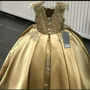 Gold Ball Gown Flower Girl Dresses Lace Sequins Girls Pageant Dress Jewel Neck Kids Birthday Gowns