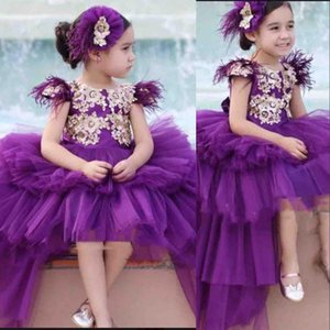 Purple Girls Pageant Dresses Jewel Princess Flower Girls Dresses Lace Feather Short Sleeves Puffy High Low Length Kids Party Birthday Dress