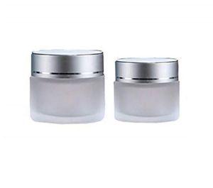 2020 5 г 10г 15г 20г 30г 50г матовое стекло Косметические Jar Слейте Крем для лица Бальзам для губ Контейнер для хранения Refillable образца бутылки с Silver