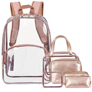 Fashion lady bag outdoor transparent backpack PU student bag jelly zipper square backpack school book Dropship T626