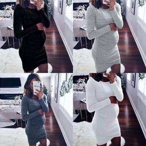 Fashion Maternity Dresses Solid Color Elastic Long Sleeve Circle Neck Womens Pregnant Clothes Summer Long Dresses 22lh L2