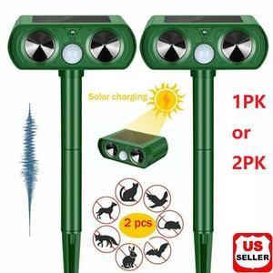1 2 PK Animal Repeller Ultrasonic Solar Power Outdoor Pest Cat Mice Deer Sensor