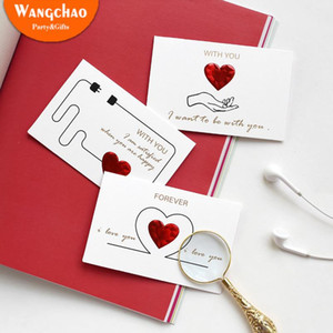 6 Styles Solid Red Heart Greeting Card with Envelopes Romantic Letter I Love You Forever Wedding Invitation Valentine's Day