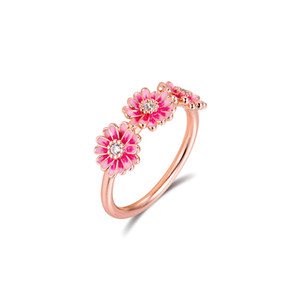 Pink Daisy Flower Trio Ring 925 Sterling-Silver-Rings DIY Fashion Feamle anillos European Jewelry For Women Z1121