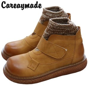 Careaymade-Literature and Art Retro-making Old Wool Round Head Thick Bottom Shoes Hand-made Comfortable Casual Doll Shoes