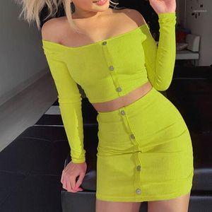 Women Solid Bottons Long Sleeve Off Shoulder Crop Top Mini Skirt Suits Faldas Mujer Moda Midi Denim Vadim Summer Skirts C306261