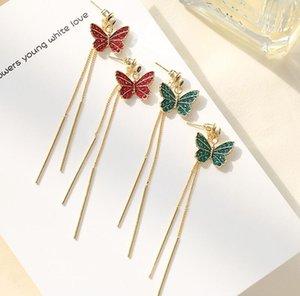 Korean new romantic s925 silver needle butterfly earrings jewelry women luxury 18k gold plated red green gray zircon long tassel earrings