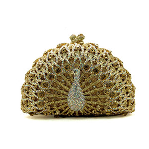 Wholesale- New Gold Crystal Evening Bag Peacock Clutch Diamond Party Purse Pochette Soiree Women Evening Handbag Wedding Clutch Bag