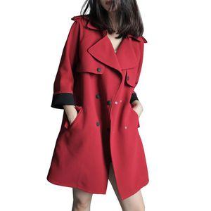 QPIPSD 2020 Весна Осень Новый Свободная Повседневная Куртка Ветер Breaker Осень Длинный Раздел Ветер Куртка Сплошной Цвет Большой Размер