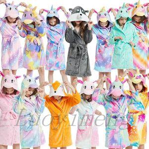 Kış Çocuk Kapşonlu Hayvan Bornoz Karikatür Bebek Plaj Havlusu Noel Pijama Çocuk Banyo Robe Erkekler Kızlar Gecelik Giyim