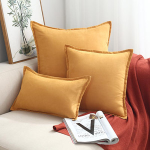 Yellow Solid Soft Velvet Cushion Cover Decorative Pillow Cover with Folding Sofa Cushions 45x45cm Decor Living Room 60x60 30x50