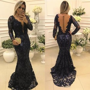 Dark Navy Blue Lace Evening Dresses Mermaid Long Sleeve Illusion Back Deep V Neck Ladies Formal Occasion Prom Party Gown Mother of Bride