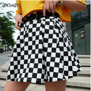 DICLOUD 2019 Pleated Checkerboard Skirts Womens Harajuku High Waisted Skirt Casual Dancing Korean Sweat Short Summer Mini Skirts Q1117