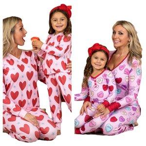 Saint Valentin Pyjamas Ensembles de Vêtements Parents-enfants Heart T-shirt imprimé Tops Tops Pantalons de jambe Deuxième costume pour enfants Adultes Filles Homewear G10801