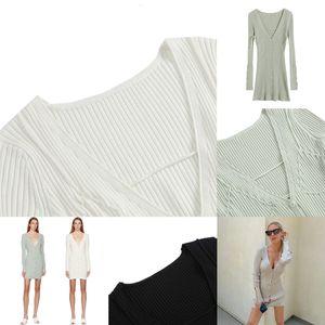 Dress Maglione Solid Bodycon Wamming Donne Casual Jacquemus Long Bandage V Collo Design Design Maglione Dress O-Neck Sleeve Backless Sexy Slim
