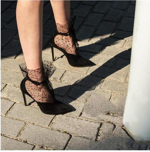 Black Suede Sexy Party Women Pumps Rihana Lace Decor High Heels Mesh Ankle Boots Ladies Shoes Woman Pointed Toe Stiletto
