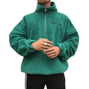 2020 Männer Sweatshirts Wolle Pullover Reißverschluss Kragen Casual Pullover Baumwolle Langarm Kleidung Feste Mantel Dropshopping