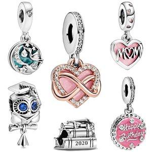 Fashion 925 cuentas de plata esterlina Beads Mamá Script Sparkling Infinities Heart Charms Fit Original European Bracelets Mujeres DIY Joyería
