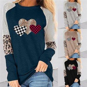 Tshirt à manches longues Femmes Contraste Contraste Couleur Patchwork Love Heart Heart imprimé Casual Cold Crew Col Spring Tees