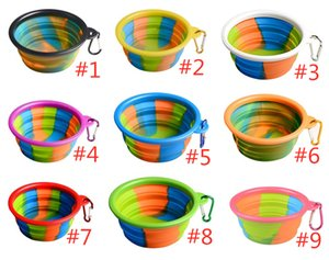 Camouflage Pet Bowl Silicone Pieghevole pieghevole Cucciolo Ciotola con moschettone Portable Pet Dog Bowl per Outdoor Travel Food Fooding AHB3200