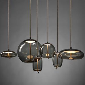 매듭 유리 펜던트 조명 조명 Nordic 미니멀리스트 LED 디자이너 거실 교수형 램프 크리 에이 티브 Lustre Lampada 카메라