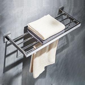 Stainless Steel Bathroom Hardware Set Mirror Chrome Polished Towel Rack Toilet Paper Holder Towel Bar Hook Bathroom Accessories LJ201204