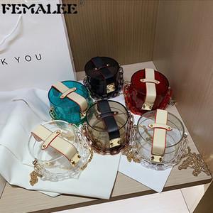 Sac de gelée de couleur solide transparent élégant Coloré Clear Clear Acrylique Chaînes Sac à main Femmes de luxe PVC DOT Sacs de bandoulière Q1208