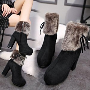 winter new thick with women's shoes women's boots high-heeled boots frosted Martin shoes