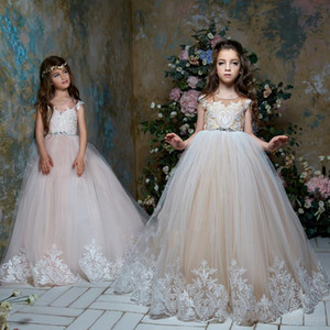 Cute 2020 Flower Girl Dresses For Weddings Ball Gown Cap Sleeves Tulle Lace Crystals Long First Communion Dresses Little Girl