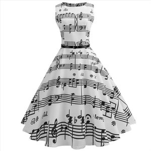 38 Vintage Print Music Notes Bodycon Sleeveless Casual Evening Party Prom Swing Dress For Women Party Dress Women