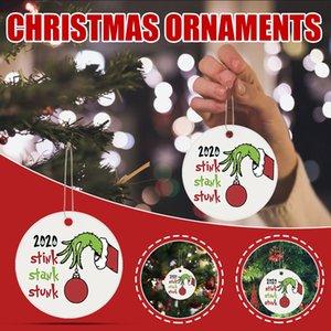 2020 Stote Stink Stunk Mask Ornament Grinch Mano Navidad Ornamento Colgante Decoración de madera Decoración de la casa de Navidad DDA814