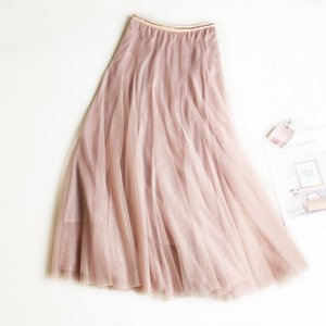 Summer Mesh Women Pleated Skirt Solid High Waist A Line Tulle Skirts Chic Long Maxi Tutu Skirt Holiday Beach Tulle