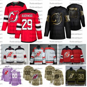 2021 Personalizza # 29 Mackenzie Blackwood New Jersey Devils Jerseys Golden Edition Camo Veterans Day Fights Cancer Custom Hockey Jerseys