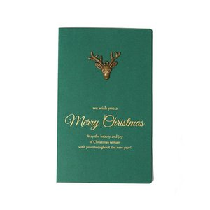 10set Christmas Green Metal Elk Socks Snowflake Theme Leave Message Cards Lucky Love Valentine Party Invitation With Envelope jllKOo