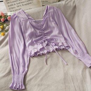 Mode Bluse Frauen 2021 Kurzes Kordelzug Hemd Neue V-Ausschnitt Damen Kleidung Koreanische Falltops Lila Feminin