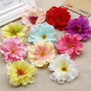 Lot 10 adet 8 cm Şakayık Yapay Çiçek Kafaları DIY Bebek Kız Saç Kelepçesi Kafa Aksesuarları Düğün Parti Festival Malzemeleri Flores1