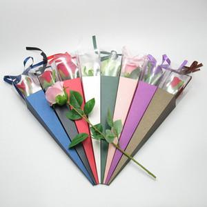 Einzelne Blume Rose Box Papier Dreieckige Verpackungssäcke Bunte Box Für Festival Hochzeit Florist Blumen Geschenke Verpackung MY-INF0474