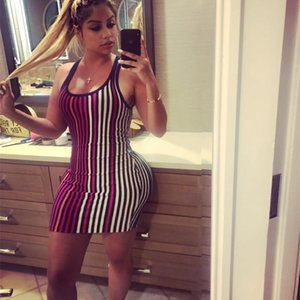 women's striped sleeveless hip sexy dress