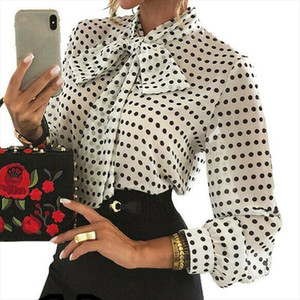 2020 Elegant Women Polka Dot Blouses Formal Office Lady Bow Tie Long Sleeve Shirts Fashion Puff Sleeve Chiffon Blouses Tops