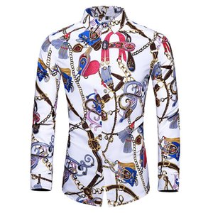 2020 New Arrival Men's Shirt Fashion Men Print Long Sleeved Shirt Male Casual Social Dress Shirts Slim Fit Brand Clothing 7XL