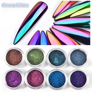 0.2G / Box Glitter Magic Mirror Mirror Pured Powder Chameleon Aurora Nail Art Chrome Pigment Glitters Украшение ногтей