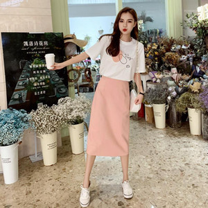 Summer Clothes For Women 2 Piece Set Women Clothing Dog Print Letters Female T-shirt + Mid-Length Skirt Women's Blouses Costumes1