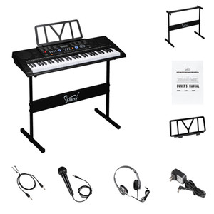 Glarry 61 Key Portable Piano with Piano Stand Speakers Headphone Microphone Music Rest LCD Screen USB Teaching Modes for Beginners Black