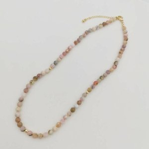 5mm Pink Opal Necklace Natural Faceted Gemstones 14K Gold Filled For Women Jewelry