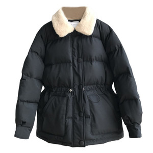 Women Winter Parka Down Jacket New Warm Solid Loose Korean Cotton Causal Bread Short Coat Female Drawstring Waist Tops Blouses 201125