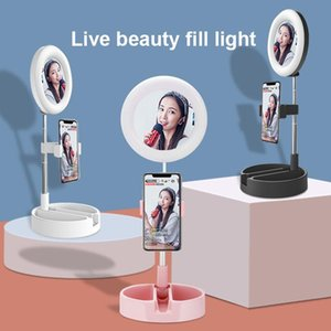 Foldable LED Ring Light Desk Phone Video Photography Ring Lamp Fill Light 64 LED lamp beads Max work 58cm For Phones