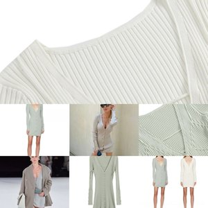 ANJAMANOR Lounge Jacquemus Strap design Sweater TwoSetgown Long Sleeve Crop Top and Shoulder v neck Pants Cozy Sexy Wear Winter #569