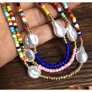 Playa Vacaciones Nacional Estilo Contraste Color Rice Pearl Collar Femenino Personalidad Multi-Capa Forma especial Pearl Hecho A Mano Cadena F7ZR9